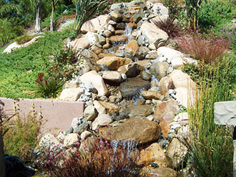 large rock fountain with rock stream