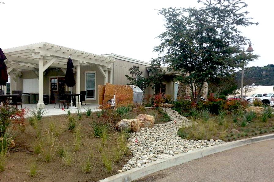 club house exterior landscape design, build