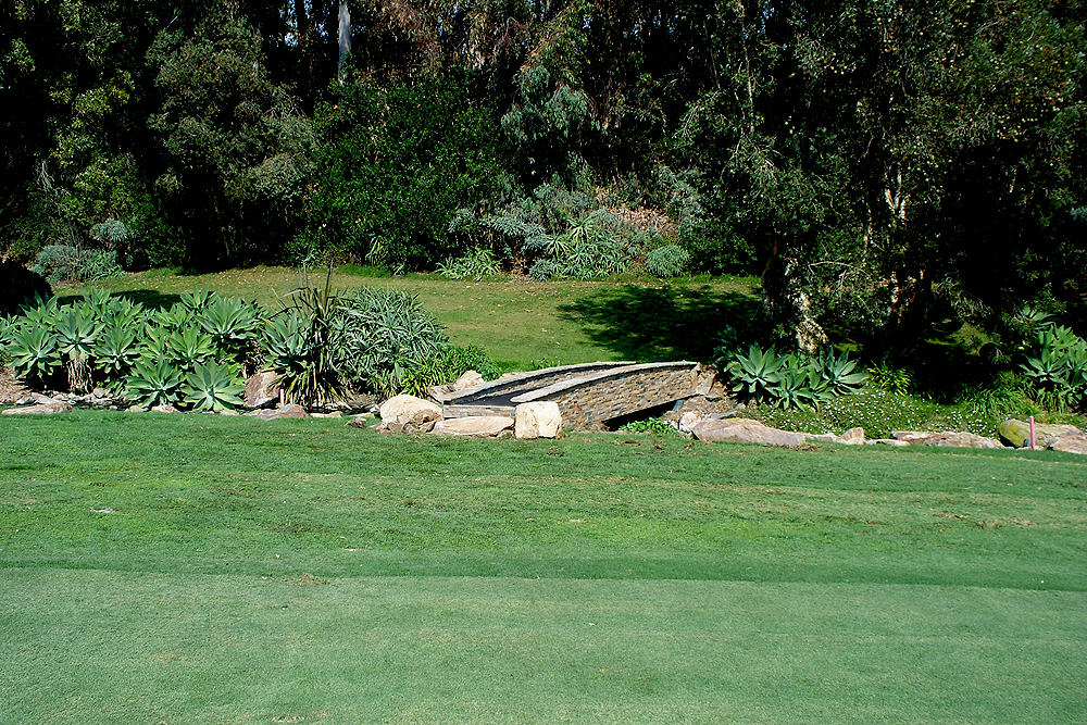 example golf course water feature, bridge with succulents